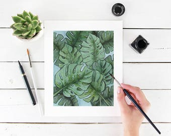 "8"" x 10"" Green Monstera Leaves Tropical Fine Art Paper Giclee Print"