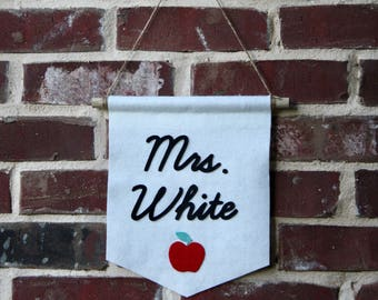 Teacher Name Banner- Classroom Decor- Teacher Gift- Custom Felt Banner- Cursive