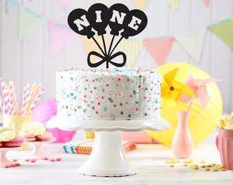Birthday Cake Topper, Kids party cake topper, Birthday cake Topper age, Customizable birthday cake topper, balloons party,custom cake topper