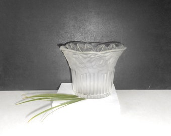 Vintage Glass, Bowl with etched Rose, Candy Dish, Candle Holder, Scalloped Edge and Frosted Roses, Ribbed Base