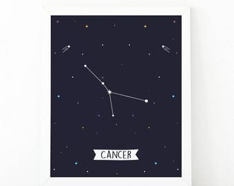 Cancer Print, Cancer constellation, Zodiac Constellation, zodiac Wall Art, Astrology Poster, Digital print, printable art, zodiac wall art