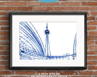 CN Tower | Blueprints | Hand-drawn  sketch of an architectural icon