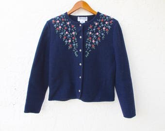 Embroidered Sweater, Vintage Wool Cardigan, Deans Of Scotland