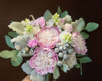 Peony bouquet Clay flowers bouquet Hand bouquet Bridal bouquet Clay flowers