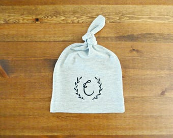 Personalized Baby Infant Hat - with Baby Initial and Laurel (Announcement, Gift)