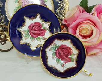 Paragon Cobalt Blue Double Warrent Cabbage Red Floating Roses England