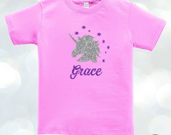 Unicorns Glittered CUSTOM name Kids Toddler T-shirt