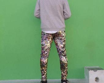 Mens sequin pants, festival leggings, burning man, wilderness, party clothes, meggings