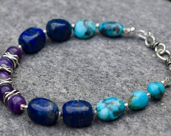 Kingman Turquoise, Lapis Lazuli and Charoite Bracelet~  Energy Stone Jewelry~ Purple and Blue Bracelet~ Boho Gift Ideas