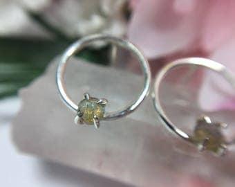 Labradorite Circle Earrings - Sterling Silver