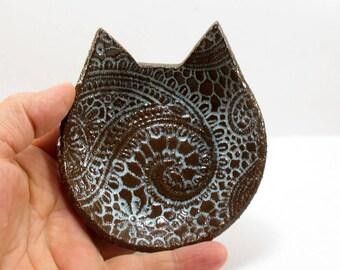 Cat dish, Cat spoon rest, Kitchen utensil holder, Ceramic spoon rest, Cat ring dish, Ceramic cat dish, Key holder, Cat lovers gift, Cat
