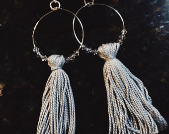 Large Hoop Chandlier Earrings WITH Swarovski Crystals