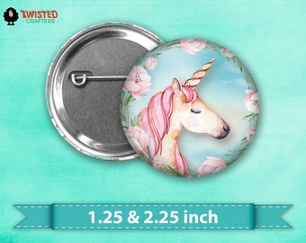 "Fairytale Unicorn Pin Back Button, Flair, 2.25"" button, 1.25"" button, Button Party Favor, Birthday Party Favor, Badge Button, Pinback Button"
