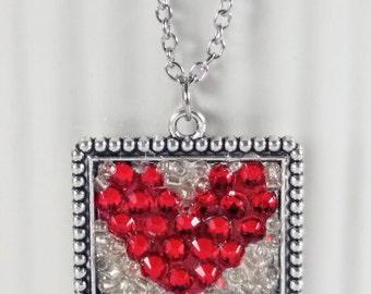 Pixel Heart, Pixel Heart Necklace, Valentine Necklace, Pixel Nerd, Heart Necklace, Valentine Jewelry, Sparkly heart necklace, red sparkly