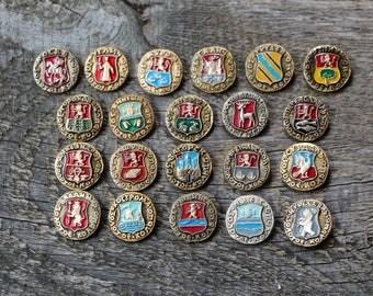 Collectible pin Enamel pin Rare pin Metal badge pin Golden Circle Full set pin City pin Multicolor pin Different cities pin Cities sign gift