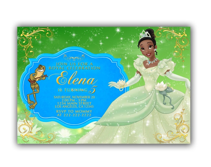 Princess and the frog Invitation, Princess and the frog Party, Princess and the frog Birthday, Princess and the frog Invite, Digital File