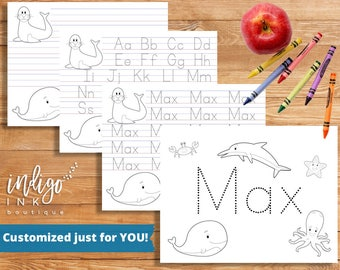 Personalized Printable | Kindergarten Coloring Pages | Homeschool Printable | Letter Writing Paper | Handwriting Worksheet DIGITAL