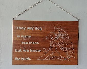 Woman's Best Friend Bamboo and Metal Wall Hanging 11 x16 1/2""