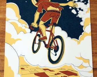 Space bike - illustrated art print - poster - Space - Astronaut