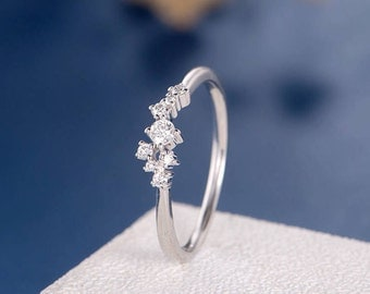 Unique Twig Ring Diamond Cluster Ring Wedding Band Women Stacking White Gold Band Minimalist Snowflake Star Mini Dainty Promise Anniversary
