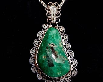 Large Natural Colombian Emerald in Sterling silver Filigrana Pendant