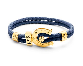Lucky Charme Bracelet Gold with Blue Leather  (free shipping)