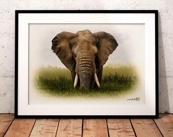 Elephant, animal, wildlife, Africa, artwork, handmade, PRINTABLE art, poster, instant download, digital print, home decor, wall art,download