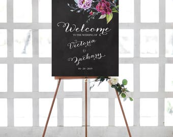 Printable Wedding Welcome Sign Chalkboard Watercolor Floral Purple