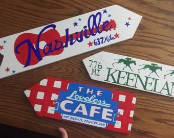Any Custom Set of 3 Destination signs, Custom Directional sign, family vacation signs, Beach house sign, tiki bar sign, mile marker sign