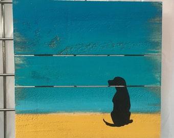 Dog art, Dog beach painting, Beach Pallet Art, Beach wood art, Waves art, fence art, Coastal Decor, Ocean art, Coastal patio art