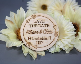 Save the Date Magnets // Laser Cut Save The Date // Laser Engraved // Fridge Magnet // Rustic Save the Date