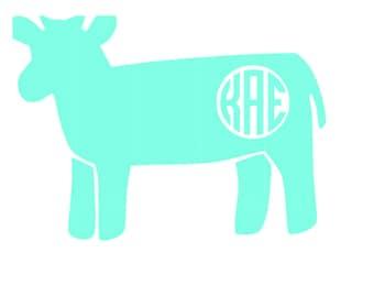 Monogram Cow Decal