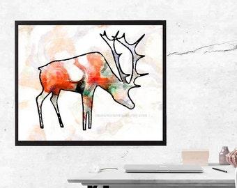 Elk Art, Deer Art, Southwestern Art, Elks Lodge, Lodge Art, Log Cabin Decor, National Park, Wildlife Wall, Woodland Animals. Wilderness Art