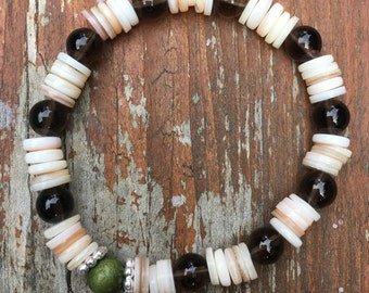 Smoky Quartz & Shell Bracelet