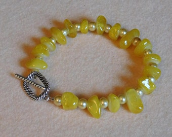 Yellow Citrine and Silver Bead Bracelet
