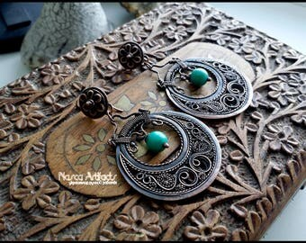 Filigree copper earrings with turquoise - LUKOSHKO - unique handcrafted jewellery