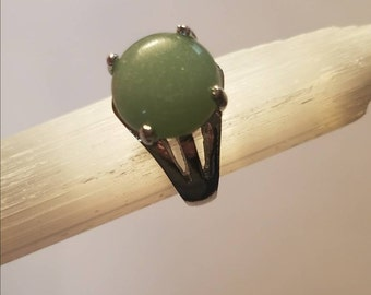 Green Jade Natural Stone Silver Ring 8 1/2 statement ring