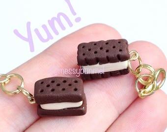 Kawaii Cute Ice Cream Sandwich Pendant Planner Charm Zipper Charm Key Charm Accessory Miniature Food