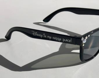 "Children's Sunglasses-Customizable Gems-""Disney is my happy place!"" Sunglasses Black"
