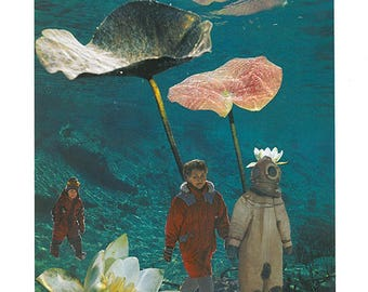 Underwater // ORIGINAL HANDCUT COLLAGE · manual paper collage · wall art