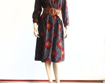 Vintage Winter wool mix dress with African print and long sleeves