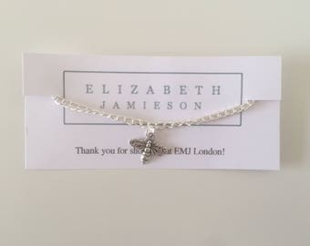 bee bracelet with three charms, bee anklet, bee charm, charm bracelet, gifts for her, gifts for him