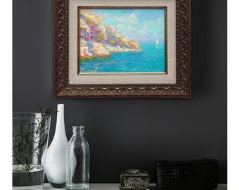 original oil painting framed painted sea seascape ready to hang sailboat classical fine art wall home interior decor gift for husband