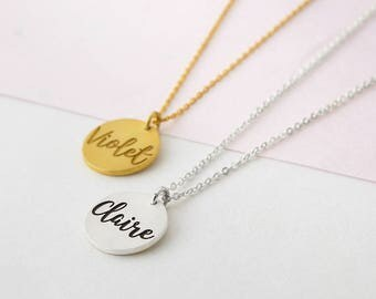 Personalized Disc Necklace - Custom Name Necklace - Dainty Name Necklace - Gift for Her - Silver Disc Necklace