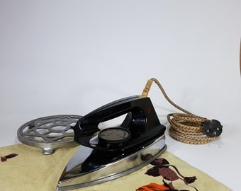 Vintage Electric Iron with Metal Stand