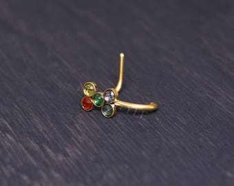 Nose Ring Stud with CZ - surgical steel nose ring