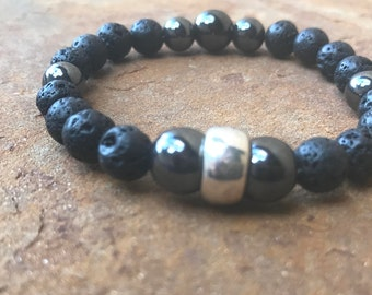 Men's Black w/ Grey Marble Bracelet