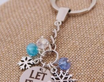 Let It Go Frozen Elsa Anna Snowflake DISNEY Inspired Key Fob Key Chain Custom Name Charm Keychain