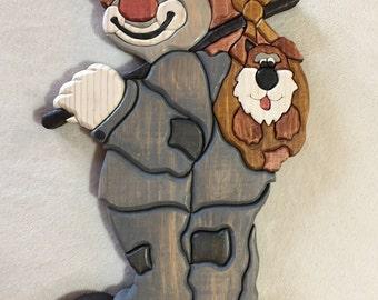 Hobo Clown Intarsia Wood Carving