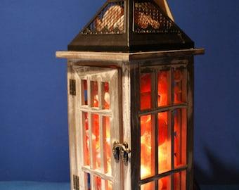 HIMALAYAN SALT LAMP - Vintage Look Wooden Frame Lantern ~ Beautiful!!